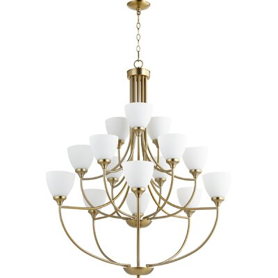 Enclave 15-Light Shaded Chandelier Finish: Aged Brass
