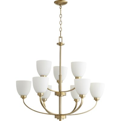 Reyes 9-Light Shaded Chandelier Finish: Aged Brass