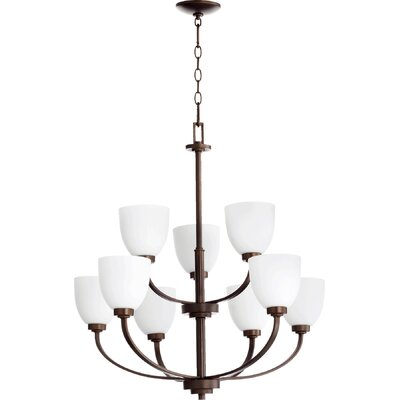 Reyes 9-Light Shaded Chandelier Finish: Oiled Bronze