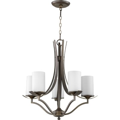 Atwood 5-Light Shaded Chandelier Shade Color: White