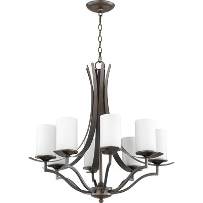 Atwood 8-Light Shaded Chandelier Shade Color: White