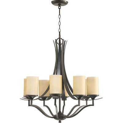 Atwood 8-Light Shaded Chandelier Shade Color: Amber Scavo