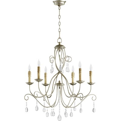 Cilia 6-Light Candle-Style Chandelier Finish: Aged Silver Leaf