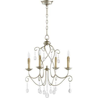 Cilia 4-Light Candle-Style Chandelier Finish: Aged Silver Leaf
