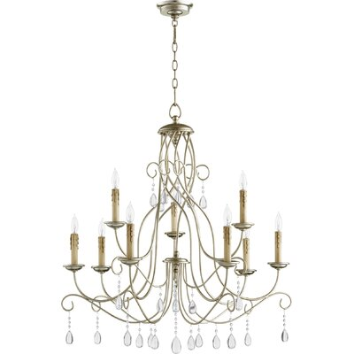 Cilia 9-Light Candle-Style Chandelier Finish: Aged Silver Leaf
