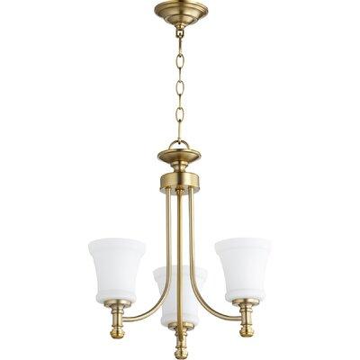 Rossington 3-Light Shaded Chandelier Finish: Aged Brass