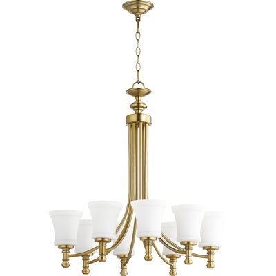 Rossington 8-Light Shaded Chandelier Finish: Aged Brass
