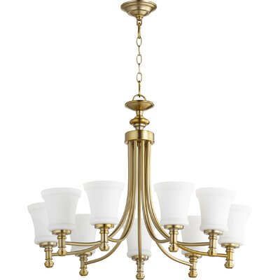 Rossington 9-Light Shaded Chandelier Finish: Aged Brass