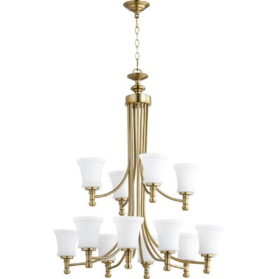 Rossington 12-Light Shaded Chandelier Finish: Aged Brass