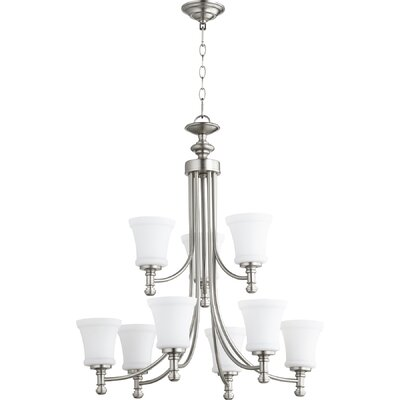 Rossington 9-Light Shaded Chandelier Finish: Satin Nickel