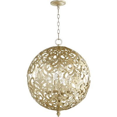 Le Monde 4-Light Globe Pendant Finish: Aged Silver Leaf