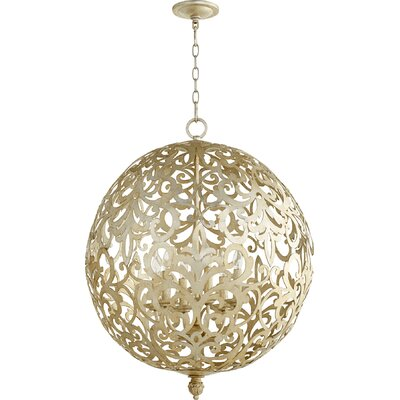 Le Monde 6-Light Globe Pendant Finish: Aged Silver Leaf