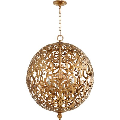 Le Monde 6-Light Globe Pendant Finish: Vintage Gold Leaf