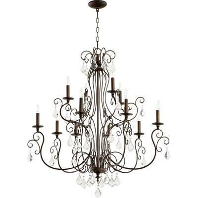 Ariel 12-Light Candle-Style Chandelier Finish: Vintage Copper