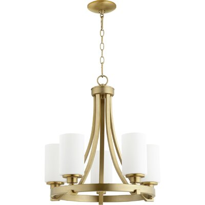 Lancaster 5-Light Shaded Chandelier Finish: Aged Brass