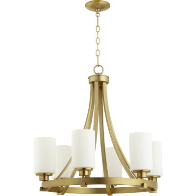 Lancaster 6-Light Shaded Chandelier Finish: Aged Brass