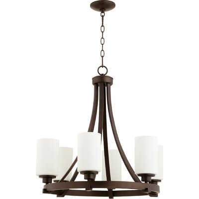 Lancaster 6-Light Shaded Chandelier Finish: Oiled Bronze