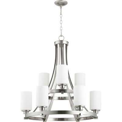 Lancaster 9-Light Shaded Chandelier Finish: Satin Nickel