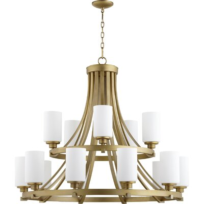 Lancaster 15-Light Shaded Chandelier Finish: Aged Brass