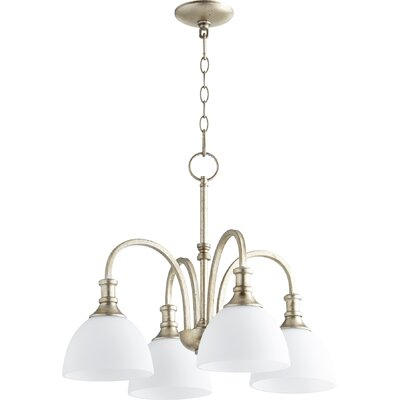 Falbo 4-Light Candle-Style Chandelier Finish: Oiled Bronze, Shade Color: White