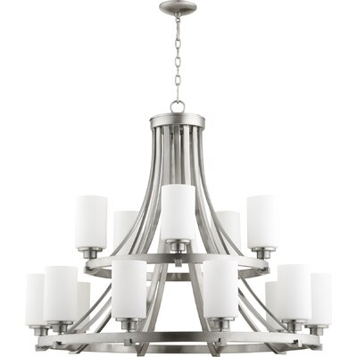 Lancaster 15-Light Shaded Chandelier Finish: Satin Nickel