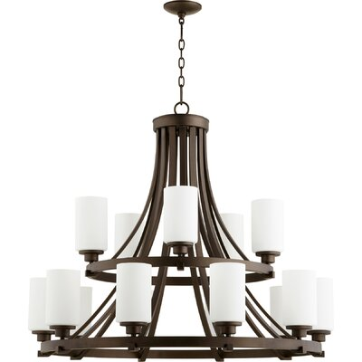 Lancaster 15-Light Shaded Chandelier Finish: Oiled Bronze
