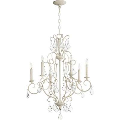 Ariel 6-Light Candle-Style Chandelier Finish: Persian White