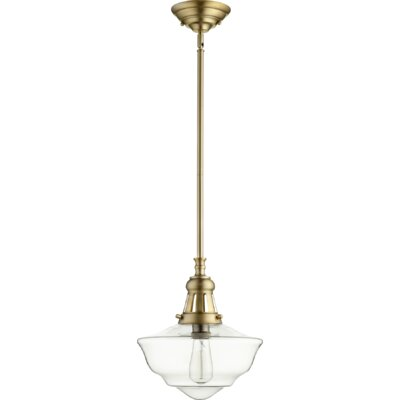 Garvey 1-Light Schoolhouse Pendant Finish: Aged Brass