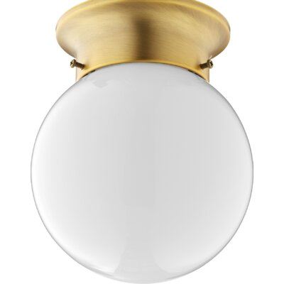 Hildebrandt 1-Light Flush Mount Fixture Finish: Aged Brass
