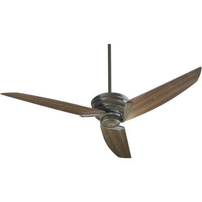 56 Nova 3-Blade Ceiling Fan Finish: Oiled Bronze With Walnut Blades
