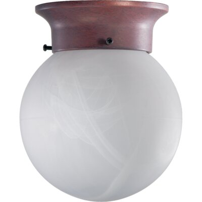 1-Light Semi Flush Mount Bulb Type: Incandescent, Finish: Satin Nickel