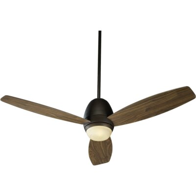 52 Bronx 3-Blade Ceiling Fan Finish: Oiled Bronze With Walnut Blades