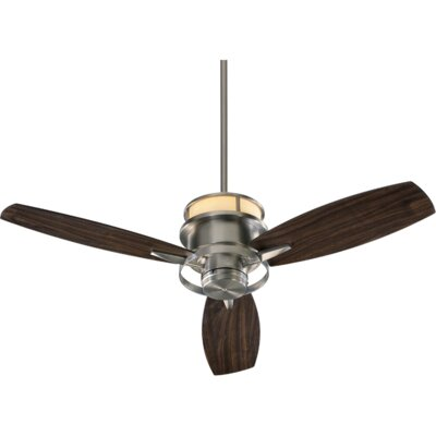 54 Bristol 3-Blade Ceiling Fan Finish: Satin Nickel with Maple Blades