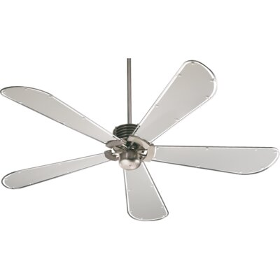 60 Dragonfly 5-Blade Ceiling Fan Finish: Satin Nickel with Gray Blades