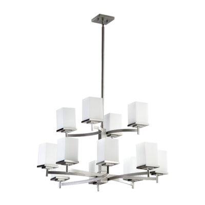 Delta 12-Light Shaded Chandelier Finish: Satin Nickel