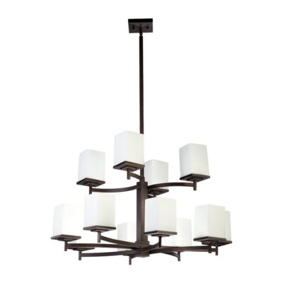 Delta 12-Light Shaded Chandelier Finish: Oiled Bronze