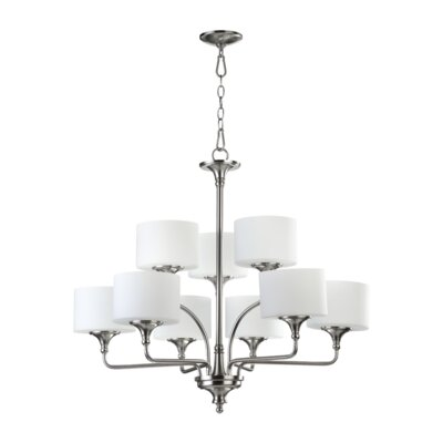 Rockwood 9-Light Shaded Chandelier Finish: Satin Nickel