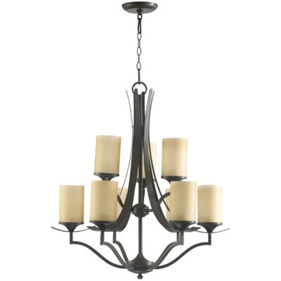 Atwood 9-Light Shaded Chandelier Shade Color: Amber Scavo