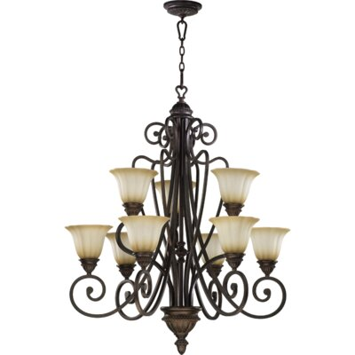 Summerset 9-Light Shaded Chandelier Finish: Toasted Sienna
