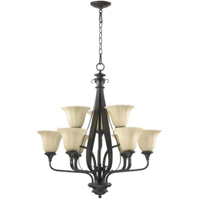 Randolph 9-Light Shaded Chandelier Finish: Oiled Bronze