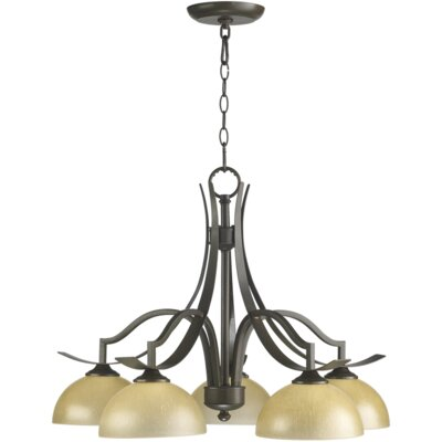 Atwood 5-Light Shaded Chandelier Shade Color: Amber Scavo