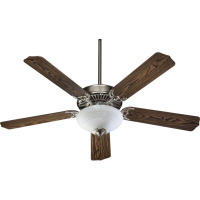52 Dunrobin Traditional 5-Blade Ceiling Fan Finish: Satin Nickel with Dark Oak/Rosewood Blades