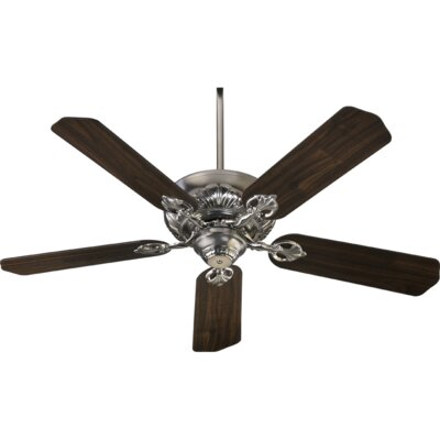 52 Chateaux 5-Blade Ceiling Fan Finish: Satin Nickel with Walnut Blades
