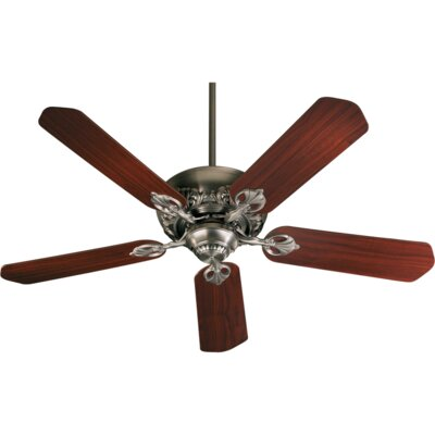 52 Chateaux 5-Blade Ceiling Fan Finish: Antique Silver with Rosewood/Walnut blades