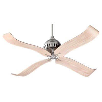 52 Jubilee 4-Blade Ceiling Fan Finish: Satin Nickel with Distressed Pine Blades