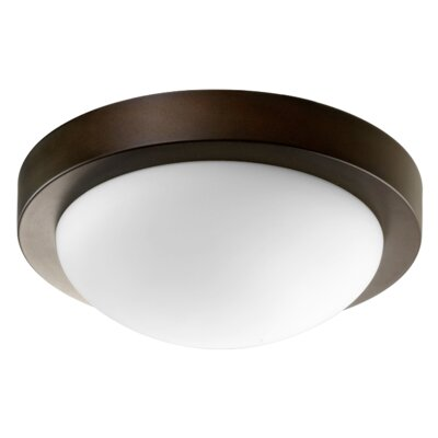 Single Light Flush Mount Size: 3.25 H x 9.25 W, Finish: Oiled Bronze w/ Satin Opal