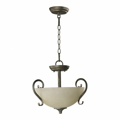 Powell 2-Light Convertible Inverted Pendant Finish: Mystic Silver, Shade Color: Amber