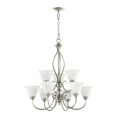 Spencer 9-Light Shaded Chandelier Finish: Classic Nickel