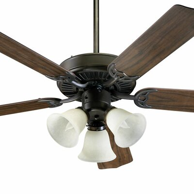 52 Capri 5-Blade Ceiling Fan Finish: Oiled Bronze with Teak / Walnut Blades, Glass Type: Linen Glass