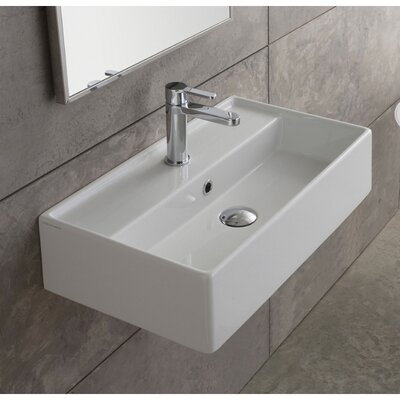 Teorema Ceramic 17 Wall Mount Bathroom Sink with Overflow Faucet Mount: 3 Hole